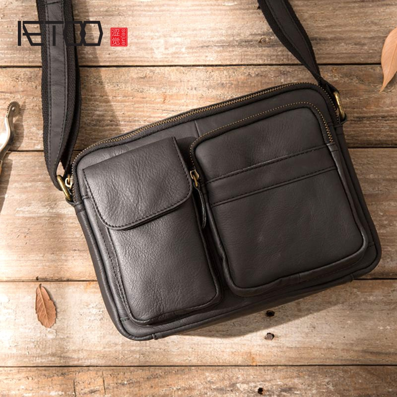 aetoo the first layer of leather 2017 new korean version of the small handbag female hard section leather black wild fashion kel AETOO Small men's bag casual Korean version of the retro leather men's bag shoulder Messenger bag