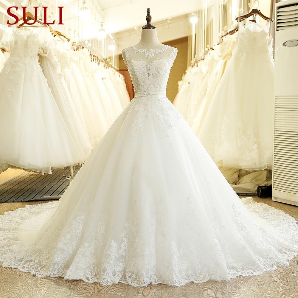 Vestido de novia SL-1T, Vintage, hecho a medida, de corte en A, con apliques de encaje largo, de talla grande, estilo bohemio, vestido de novia de tul