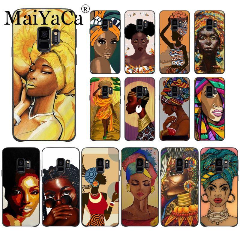Funda inteligente de belleza africana, carcasa suave negra para teléfono samsung galaxy s8 s9 s10 plus s7 note5 note8 note9, fundas para móviles