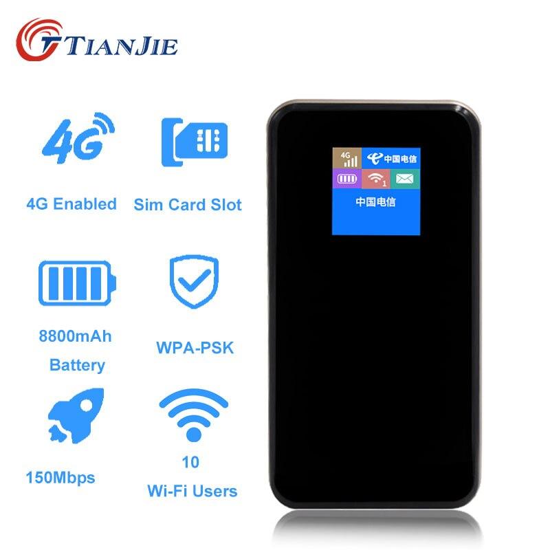Портативный внешний аккумулятор TIANJIE на 8800 мАч, карманный 4G Wi-Fi роутер LTE/FDD/TDD, беспроводной мини мобильный автомобильный Wi-Fi разблокировка с...
