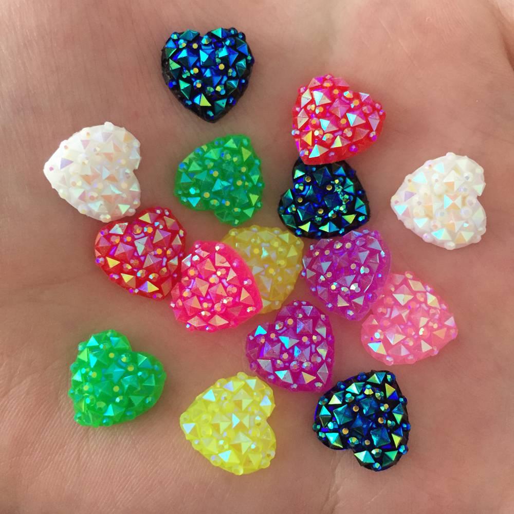 Caliente 40 Uds 12mm resina AB piel de cocodrilo corazón Flatback stone scrapbook DIY ornamentos botones crafts PF060
