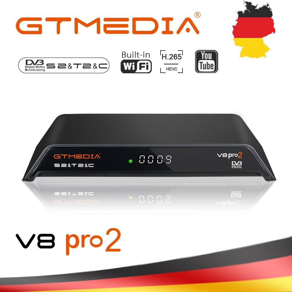 GTmedia V8 Pro2 decodificador DVB-S2/T2Cable DVB-S2X construido en WiFi H.265 soporte IPTV CCCAM PowerVu Biss clave satélite caja receptora de TV