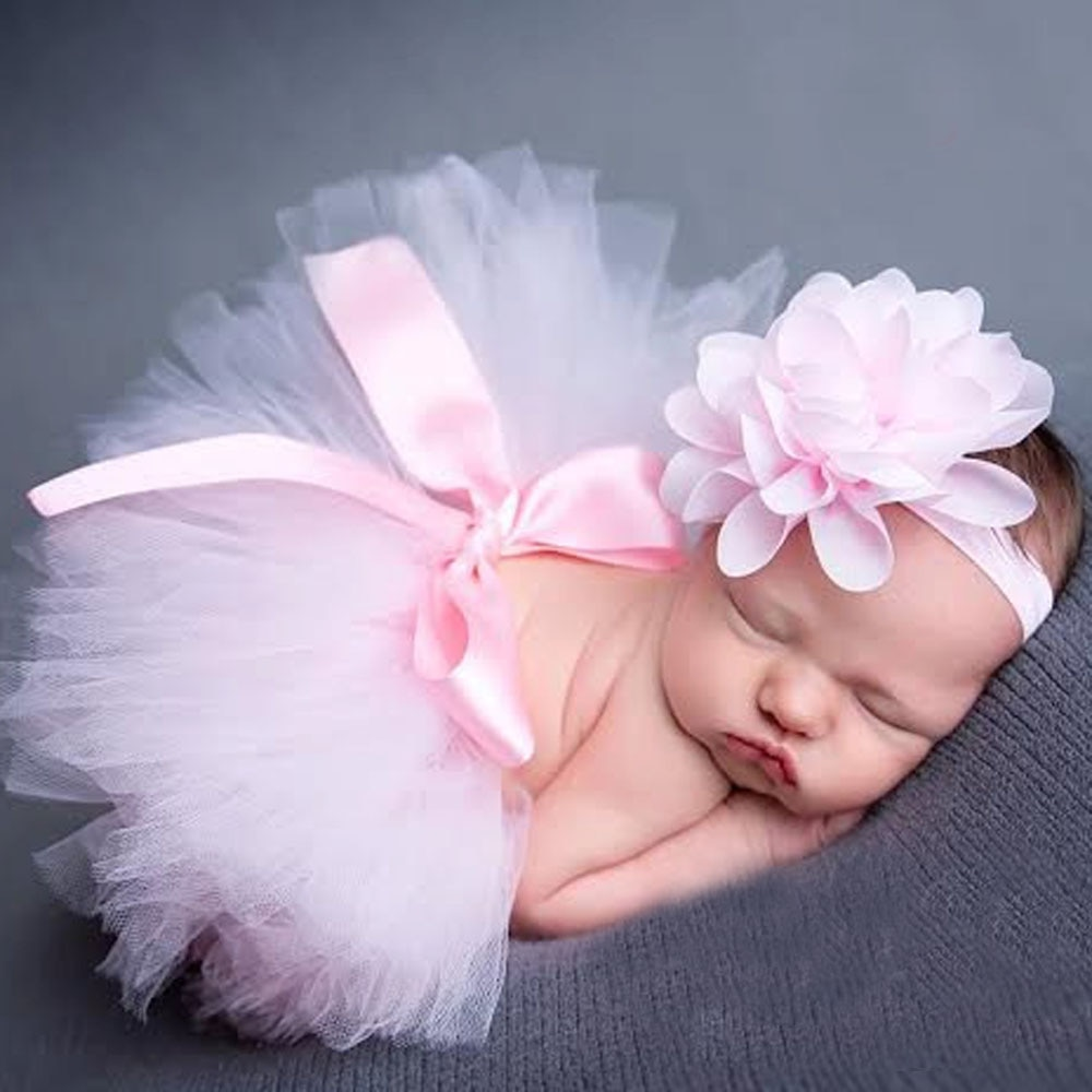 Top Sale Baby Girl Tulle Tutu Skirt and Flower Headband Set Newborn Photography Props Baby Birthday