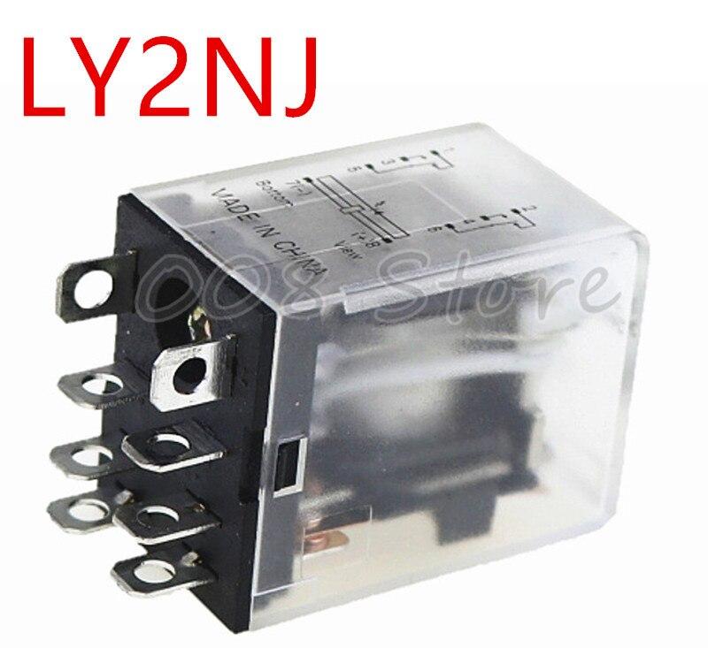 ZFU 1 шт./лот реле мощности катушки LY2NJ DC12V/DC24V/AC110V миниатюрное реле DPDT 2NO 2NC 8 контактов 10A 240VAC LY2N-J HH62P LY2