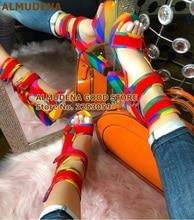 ALMUDENA date arc-en-ciel rayure couleur Patchwork Chunky talon plate-forme sandales métal décoration boucle sangle chaussures de mariage livraison directe