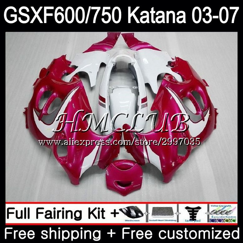 Body For SUZUKI KATANA GSXF600 2003 2004 2005 2006 2007 Rose white 36HC.18 GSX600F GSXF 600 750 GSXF750 03 04 05 06 07 Fairing