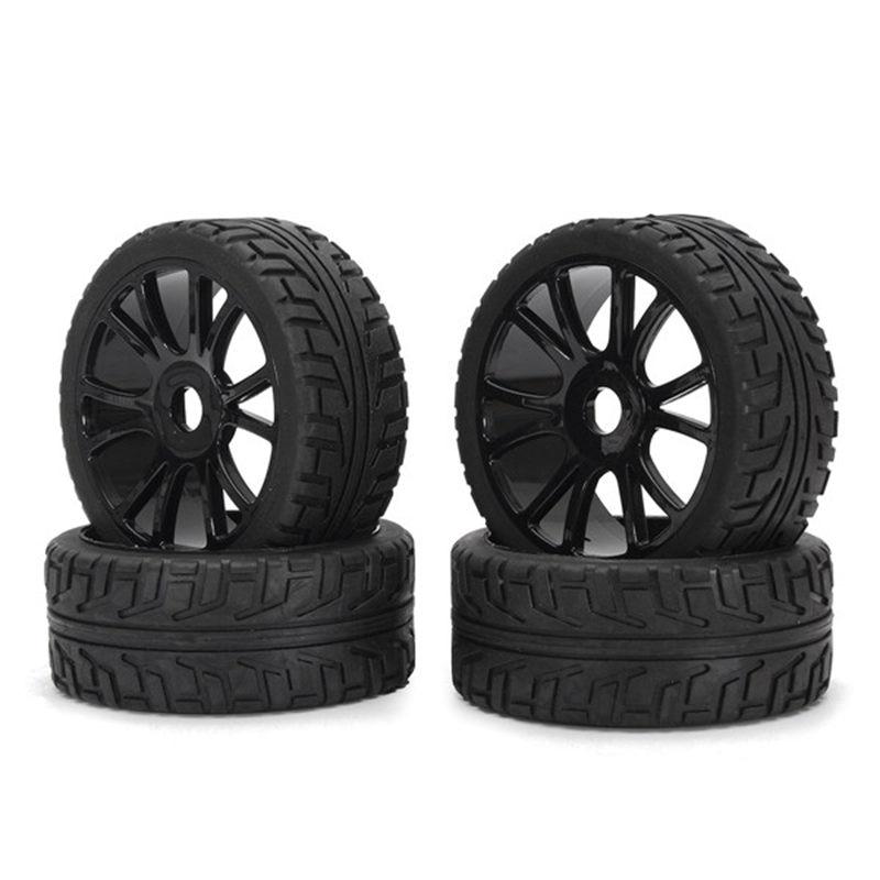 4PCS 17mm Hub Wheel Rim & Tires HSP 1:8 Off-Road RC Car Buggy Tyre Black