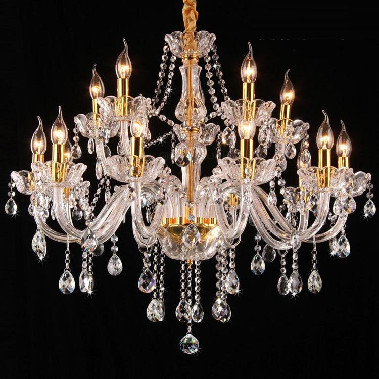 parlor bedroom led candle chandelier lamp modern luxury crystal chandeleir 15 pcs E14 Gold chandeliers villa led lustre lighting