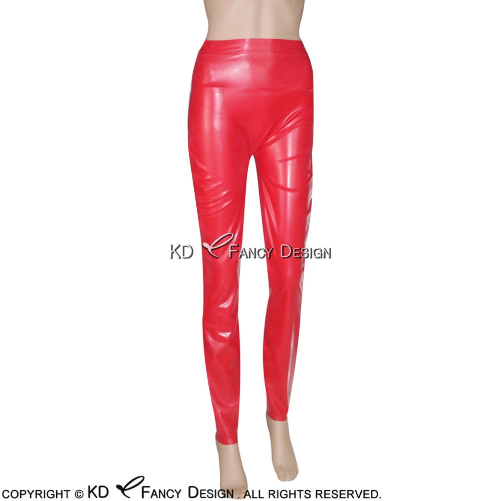 Red Sexy Latex Leggings Rubber Pants Jeans Trousers Bottoms Plus Size CK-0004