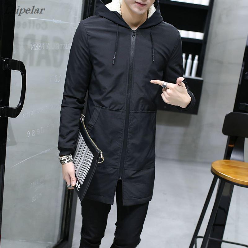 Зимняя мужская куртка с капюшоном, тонкая Корейская парка, мужская длинная куртка, пальто, кашемировая Мужская ветровка, хлопковые парки, мо...