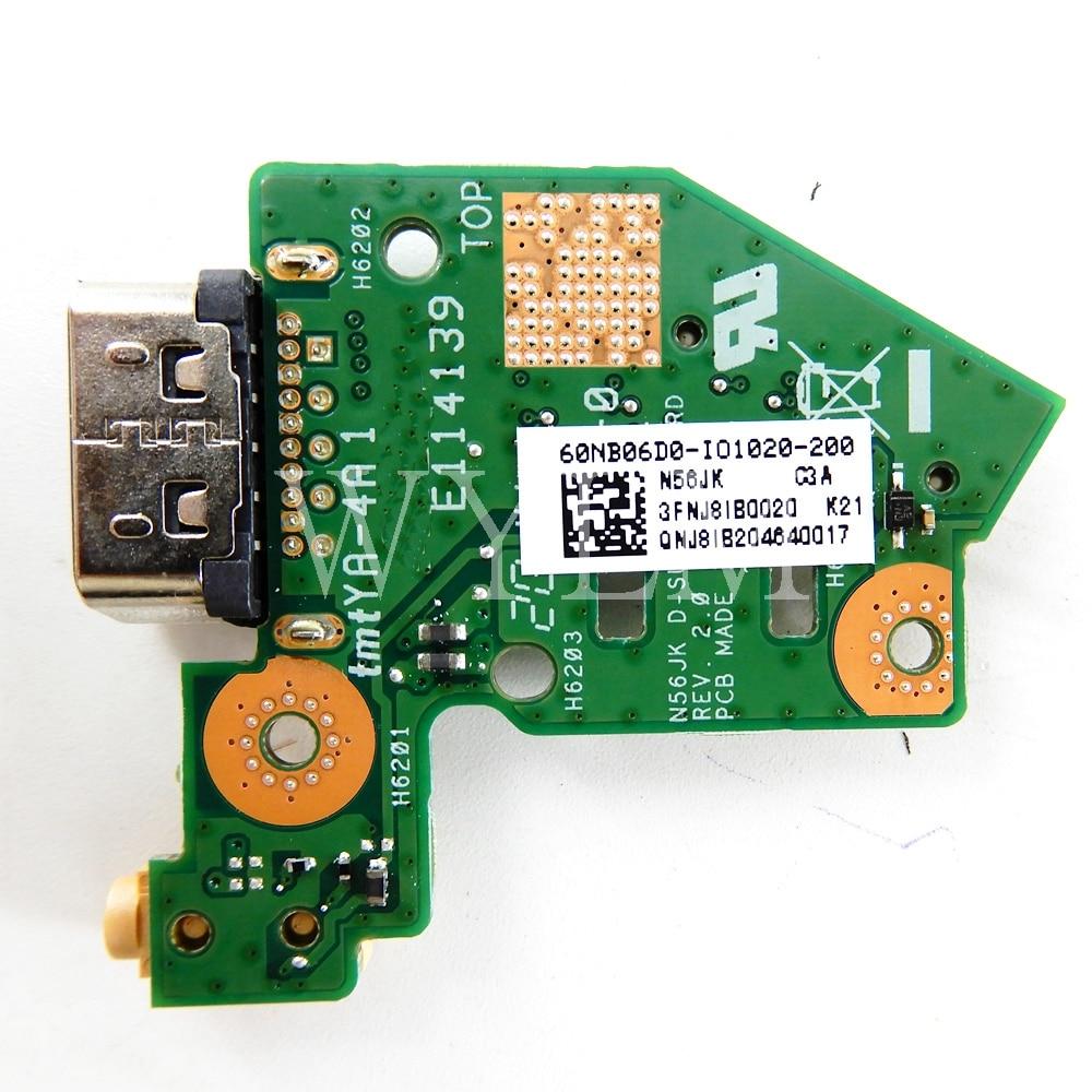 N56JK para ASUS N56 N56V N56VJ N56VM N56VB N56VZ N56J N56JN N56JK N56JR POWER Button Board IO VGA Junta