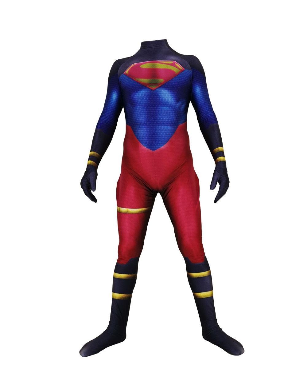 Lycra Spandex Skin Suit Superman Cosplay Party Costumes Superboy  Bodysuit Halloween  Zentai Jumpsuit