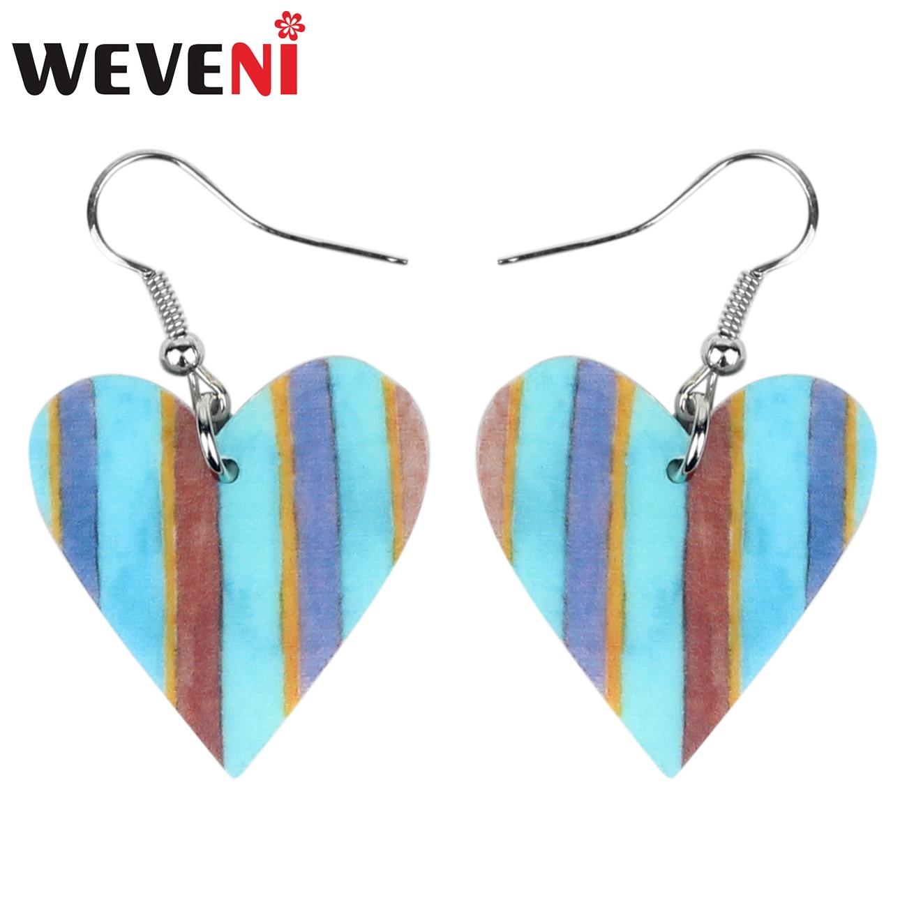 WEVENI, pendientes de Corazón Azul de acrílico para el Día de San Valentín, joyería de amor dulce para mujeres y niñas, dijes de regalo, Brincos al por mayor