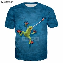 Cute Predatory Tree Frog 3D HD Print Tshirt Women/Men Hipster Hip hop Blue T-shirt Boy Pullover T shirt Tee Clothes camisetas