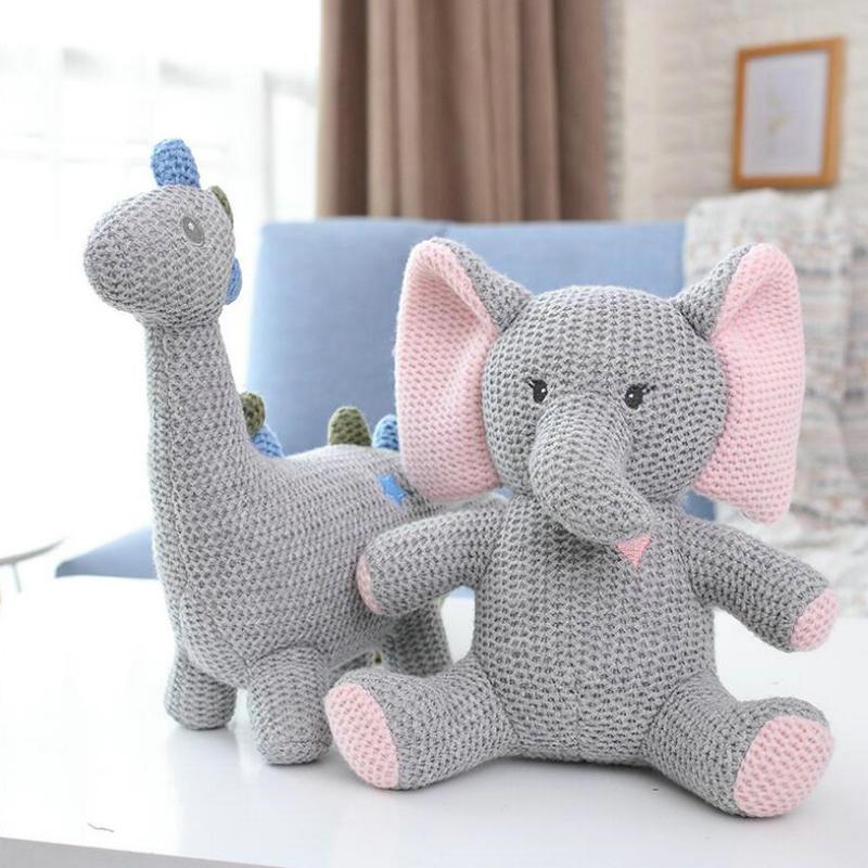 Ins популярная вязаная игрушка в скандинавском стиле Единорог слон кролик динозавр, игрушка безопасный укус Детские игрушки Младенческая Спящая кукла