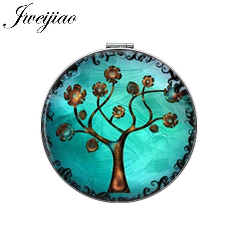 JWEIJIAO Gree Árbol de la vida hoja de oro espejo de maquillaje redondo Mini plegable compacto espejo de bolsillo portátil 1X/2X aumento