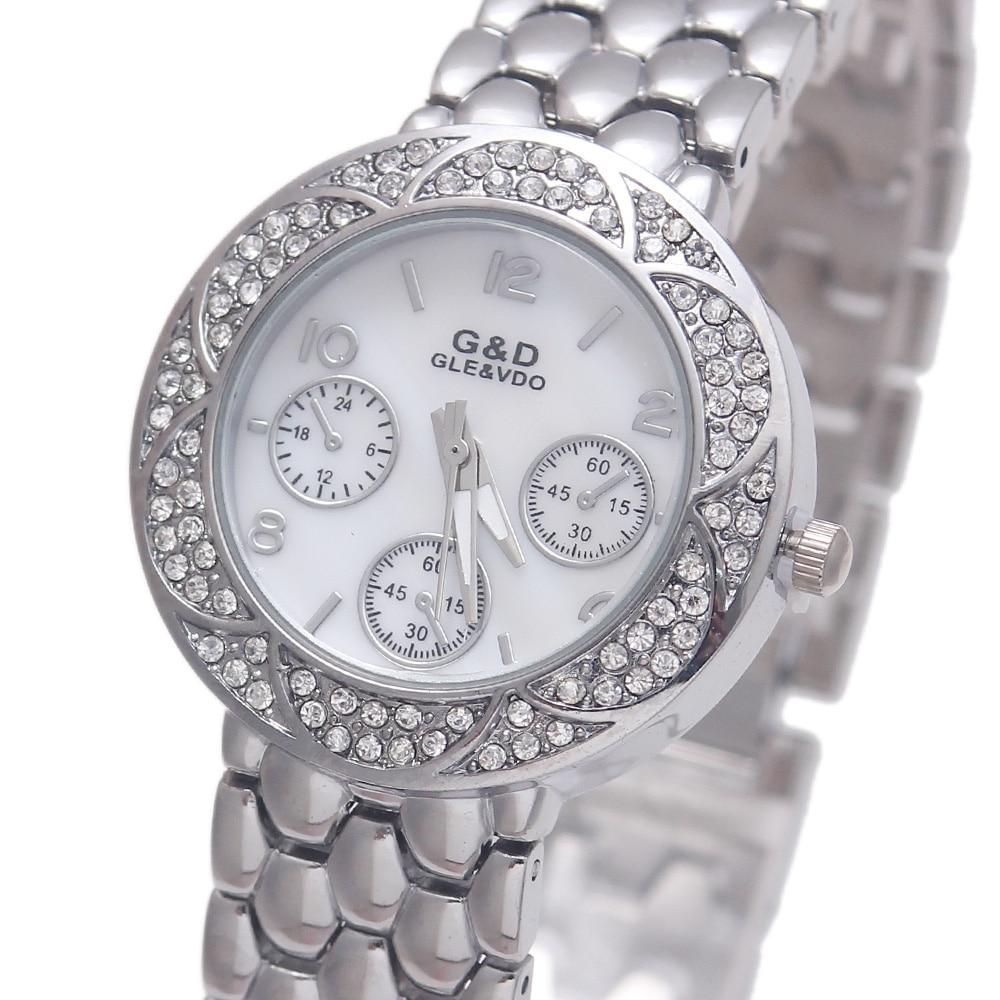2017 Silver Luxury Brand G&D Women Quartz Wristwatch Ladys Bracelet Watches Stainless Steel Relojes Mujer Relogio Feminino Gift