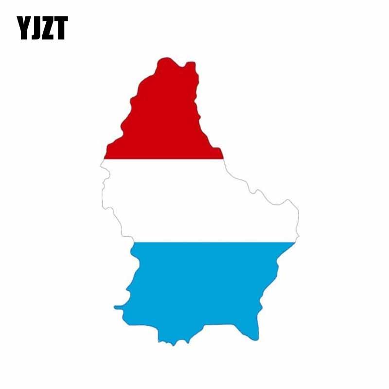 Yjzt 8.6 cm * 12.3 cm estilo do carro luxemburgo bandeira mapa decalque pvc capacete carro adesivo 6-0869