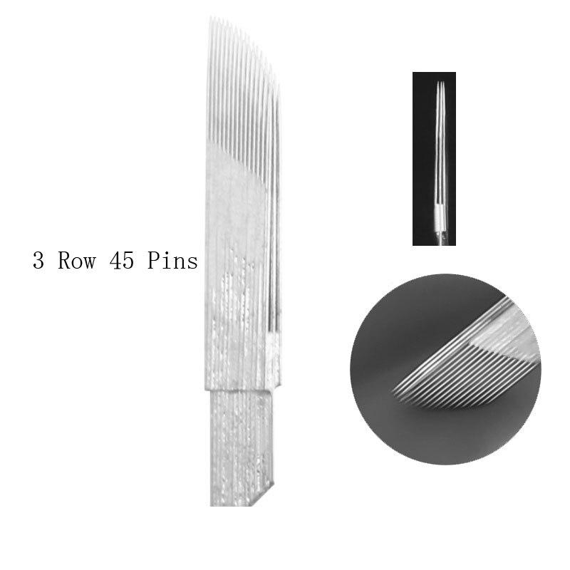 Lip  Microblading Eyebrow Tattoo Needles 3 Row 15 Pins Permanent Makeup Manual Blades Shading 45Pins For Tobori Pen