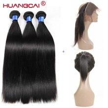 HuangCai Straight Peruvian 360 Lace Frontal Closure With Bundles Human Hair 3 Bundles With Closure N