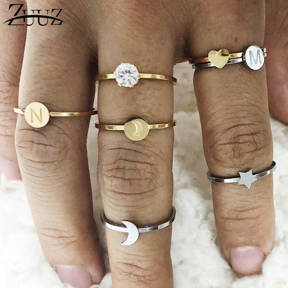 Anillo de acero inoxidable con forma de corazón y letras, anillo para accesorios, anillo de oro para mujer