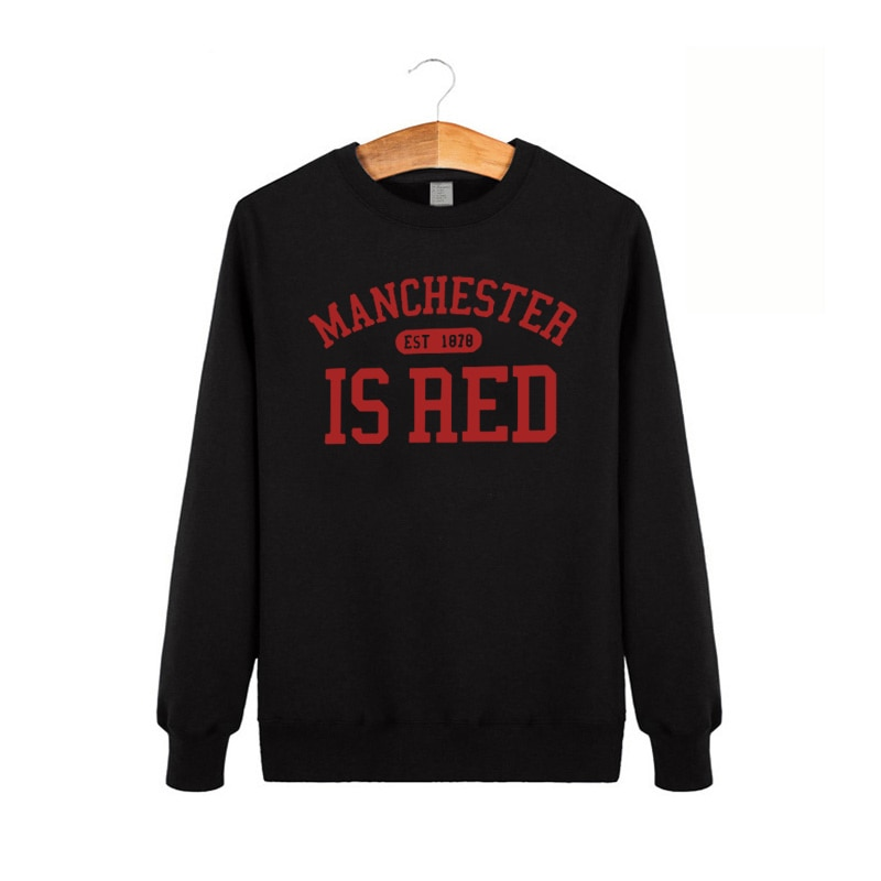 United Kingdom Red Letter Printed Cotton Long Sleeve Sweatshirt O Neck Men Manchester Tops Plus Size