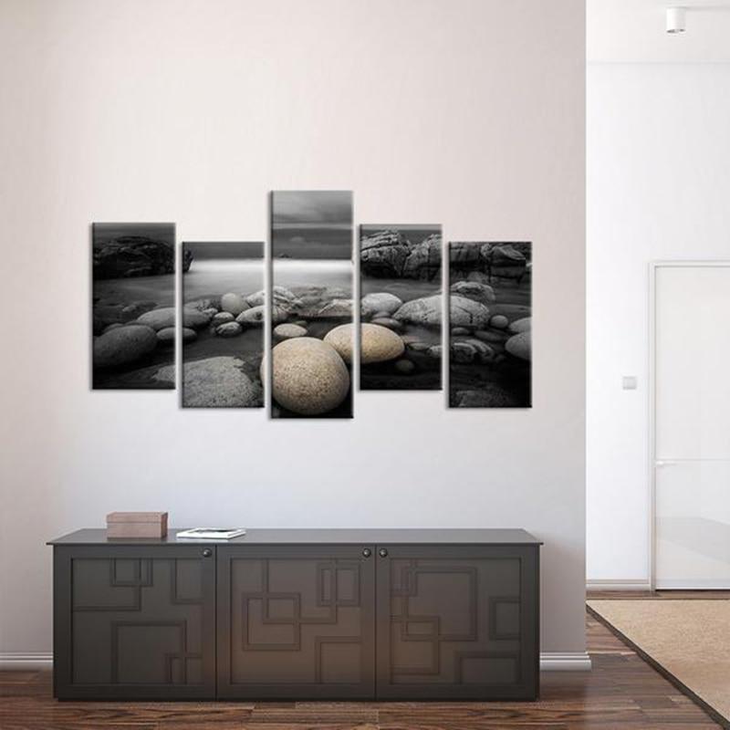 Lienzo en módulos pinturas arte de pared impresiones de alta definición Poster 5 piezas piedras de guijarros de playa imágenes para sala de estar hogar cuadro decorativo