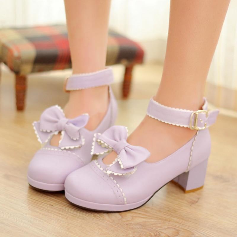Vintage lolita maid cosplay shoes sweet bowknot princess kawaii girl lolita shoes round head Thick Heel women shoes loli cos