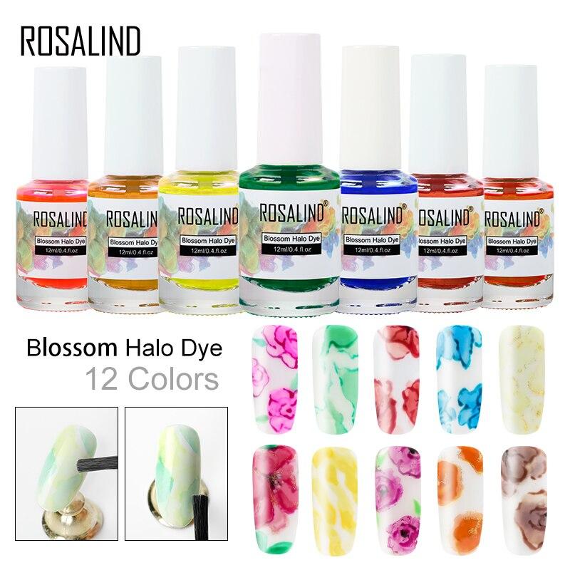 ROSALIND цветочный гель-лак для ногтей 12 мл, полуперманентный УФ гель-лак, цветущий гель с ореолом для дизайна ногтей, маникюра