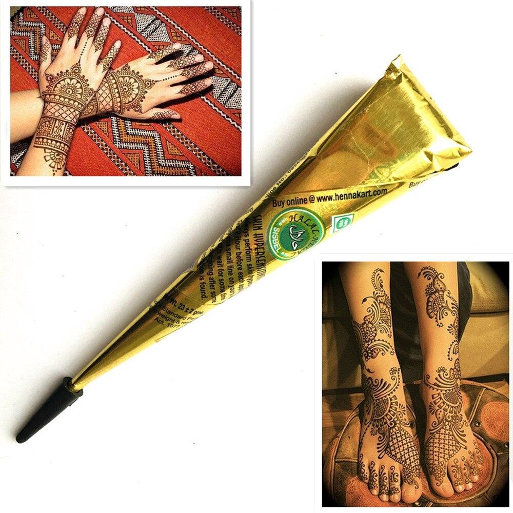 1 pieza pintura corporal No tóxica pintura Natural marrón Henna pegar mehndi cono arte corporal para mujer chica Sexy dibujo Tribal tatuaje temporal flash