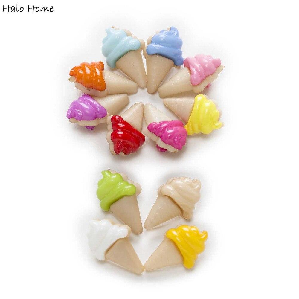 50 pcs sorvete Roupas Casa De Costura Shank Botões de Nylon Tomada De Cartão de Scrapbooking Decoração DIY 20x13mm