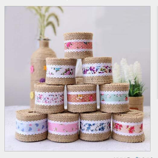 Listón pequeño con flores, adorno de cintas de lino de 2 metros de largo y 5cm de ancho, cinta decorativa vintage de estilo europeo y americano para bodas o el hogar