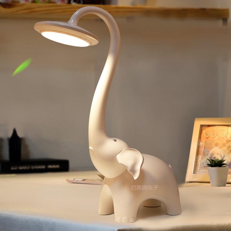 مصباح قراءة LED على شكل فيل للأطفال ، قابل للتعتيم لحماية العين ، مصباح طاولة لقراءة الكتب