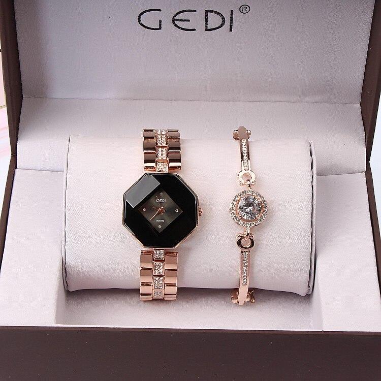 2019 New GEDI Fashion Rose Gold Women Watches Top Luxury Brand Ladies Quartz Watch 2 Pieces Watches Relogio Feminino Hodinky enlarge