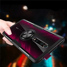 For Xiaomi Mi9T Mi 9T Pro Case Luxury Magnetic Ring Transparent Clear Glass Back Cover for Redmi K20 Pro Car holder Stand Cases
