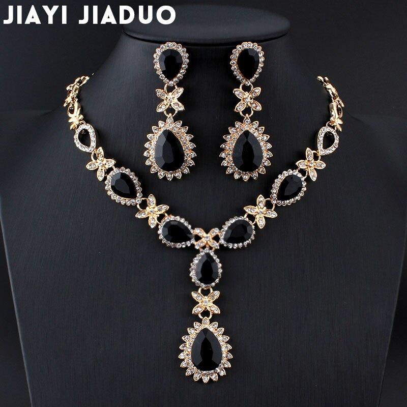 Jiayijiaduo colar brincos conjuntos de ouro-cor africano moda feminina alta qualidade conjuntos de jóias de casamento dia dos namorados presente de festa
