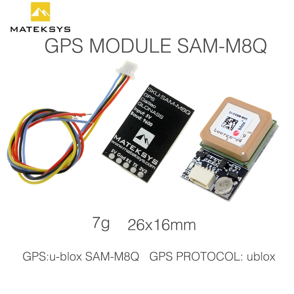 Matek GPS Module SAM-M8Q GLONASS Galileo QZSS SBAS Receiver with Antenna for UAV System Robots RC FPV or Other Project