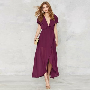 Custom Made 2017 New Fashion Women Ruffle Sleeve Sexy V Neck Backless Dress Solid Color Elegant Evening Party Chiffon Dress