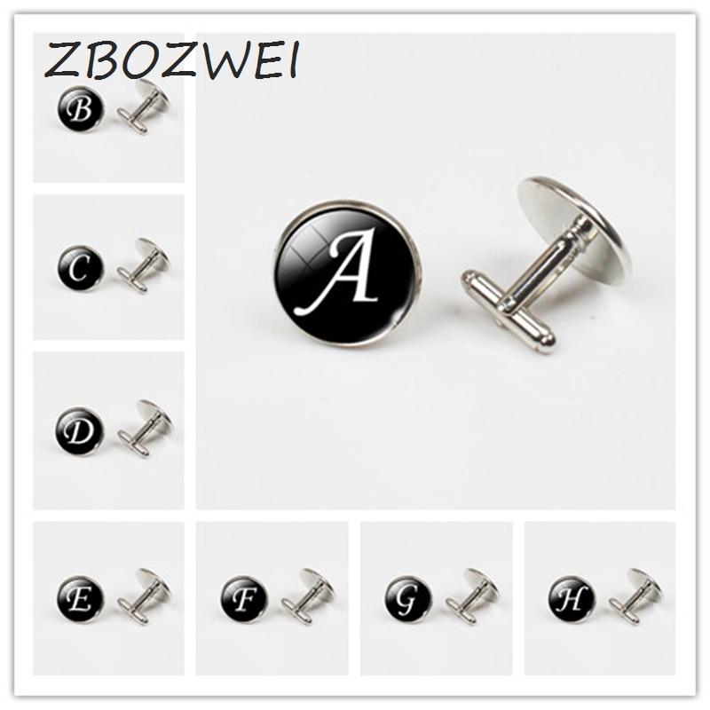 ZBOZWEI A-Z único gemelos con diseño del alfabeto de Color plata gemelos de letras para camisa francesa masculina boda gemelos de buena calidad inferior