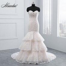 Miaoduo 2020 New Champagne Mermaid Sweetheart Wedding Dress Appliques Bridal Gown vestido de noiva Lace Pearls Wedding Dresses