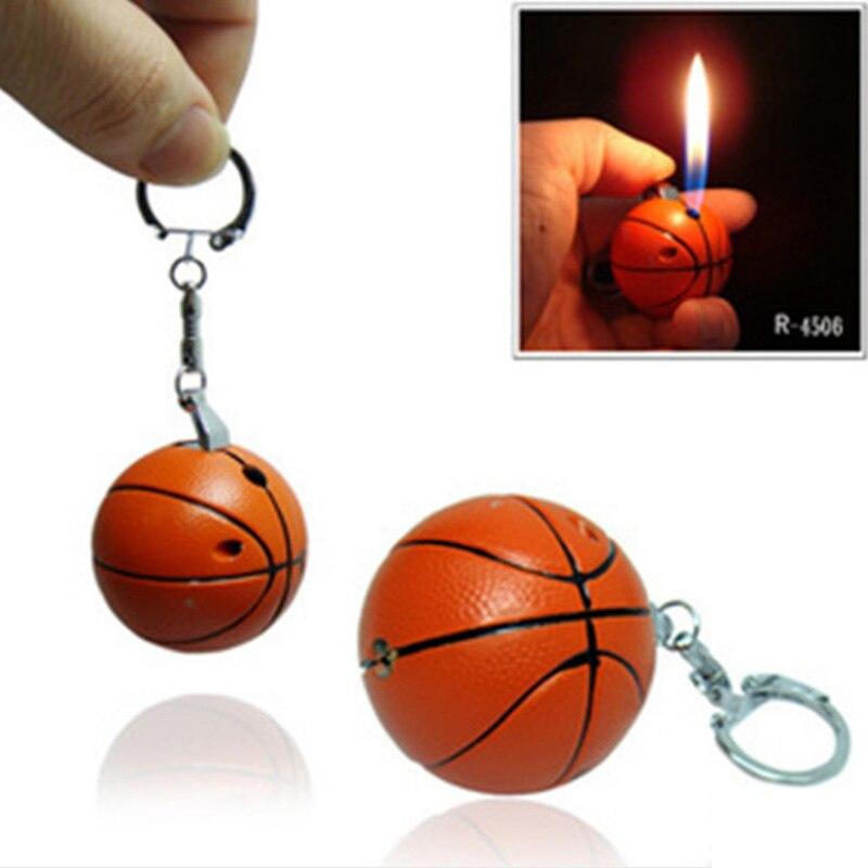 NOVEDAD DE MODA 2017, forma de pelota de básquetbol, mecheros recargables, cigarrillo de Gas butano, mechero, adornos para llavero, regalo para fumadores