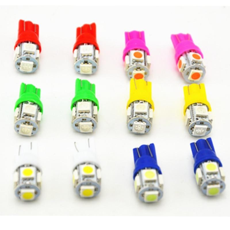 10 Uds T10 5SMD 5050 coche LED lámpara Auto 12V 1W luz de xenón bombillas W5W 194 6 colores/Blanco/azul/rojo/amarillo/verde/rosa