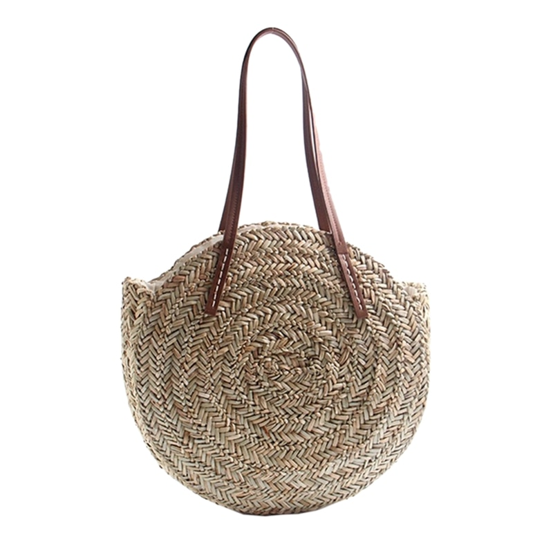 Women Bohemia Wind Beach Circle Round Rattan Straw Summer Travel Shoulder Bags