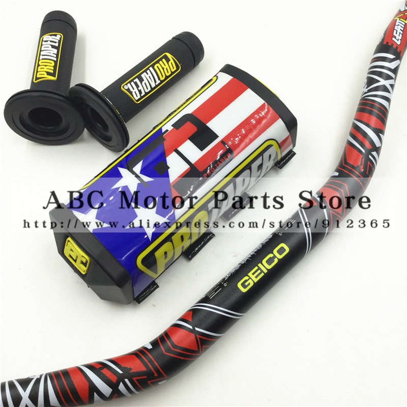 "Handlebar Pads Handle Grips Fat Bar 1-1/8"" GEICO Pack Dirt Bike Motocross Fat MX Aluminum Racing Handlebar For PROTAPER KTM"