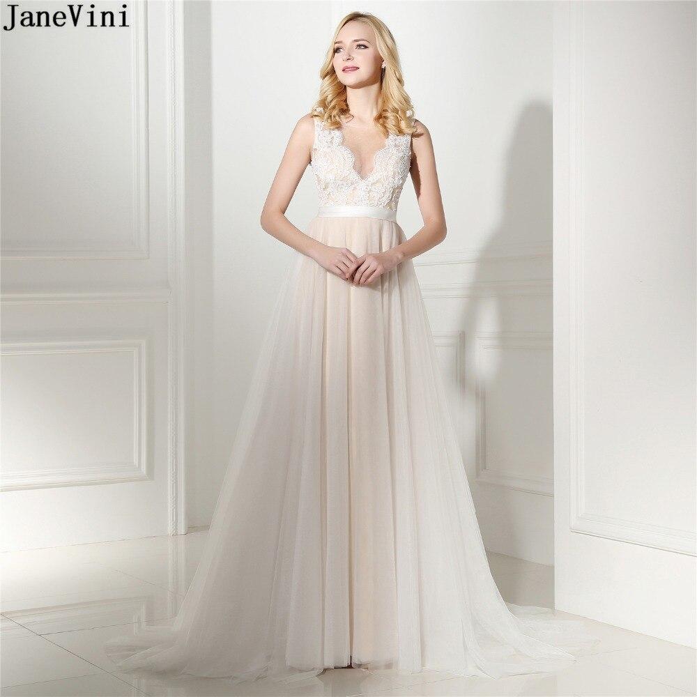 JaneVini Champagne una línea de vestidos largos de dama de Honor Pura...