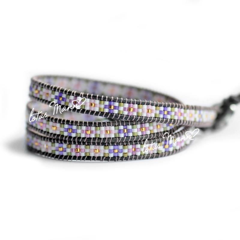 Mann lotus ring department of vintage purple knitted grey leather bracelet