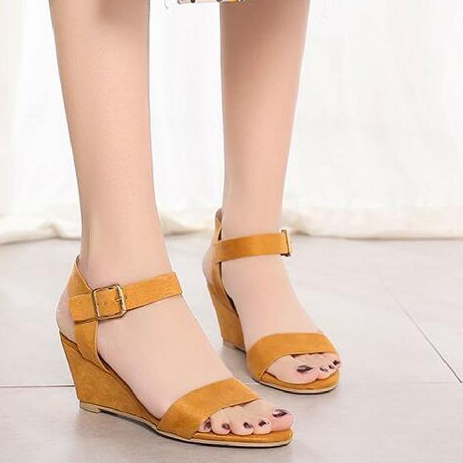 Sandalias MHYONS feminina de primavera para mujer, Sandalias de tacón para mujer con hebilla, sandalias con correa, zapatos, zapatos de cuñas de tamaño a la moda