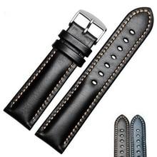 Handmade Genuine Leather Watchbands Men Women Bracelet  18 19 20 21 22 24mm VINTAGE Watch Band Strap Wiht Silver Polished Buckle