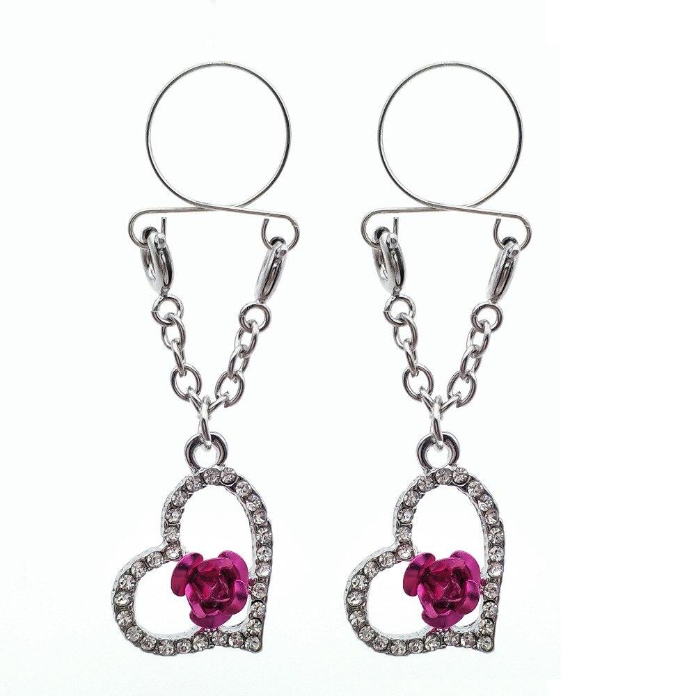 2 uds Sexy Clip no perforado en anillo para pezón, joyería pezón falso escudo flor corazón Rosa pendientes ajustable joyería piercing del cuerpo
