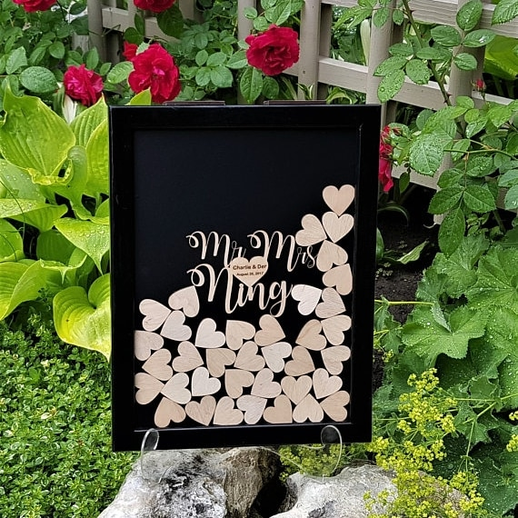 Libro de invitados de boda con nombres personalizados, alternativa de libro de visitas de madera, marco de libro de invitados personalizado, caja rústica para decoración de boda